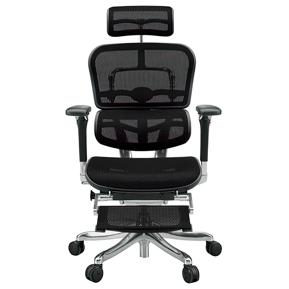エルゴヒューマン プロ オットマン W665×D665×H1110-1250mm エルゴノミクスチェア メッシュ:ブラック オフィス家具