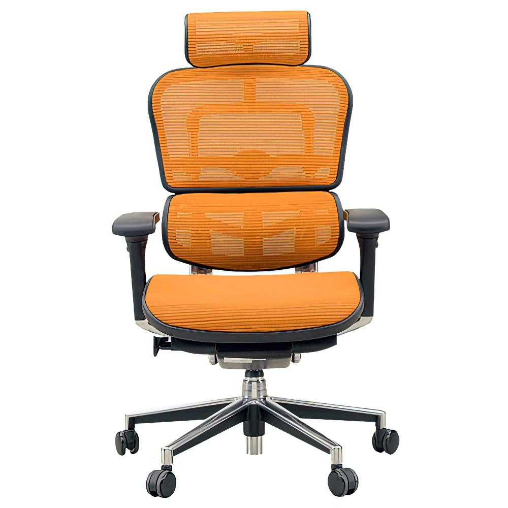 エルゴヒューマン ベーシック ハイタイプ W665×D665×H1110-1250mm エルゴノミクスチェア ファブリック:オレンジ オフィス家具