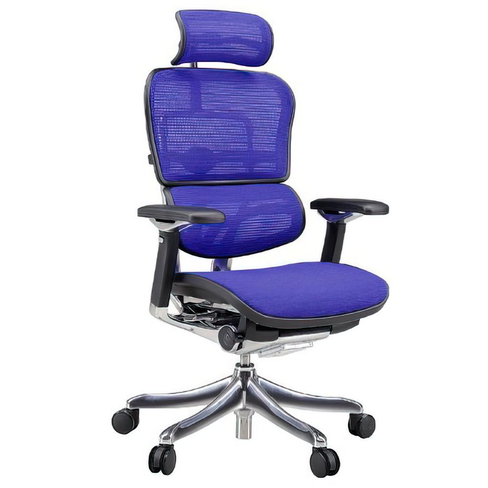 エルゴヒューマン プロ ハイタイプ W665×D665×H1110-1250mm エルゴノミクスチェア ファブリック:ブルー オフィス家具