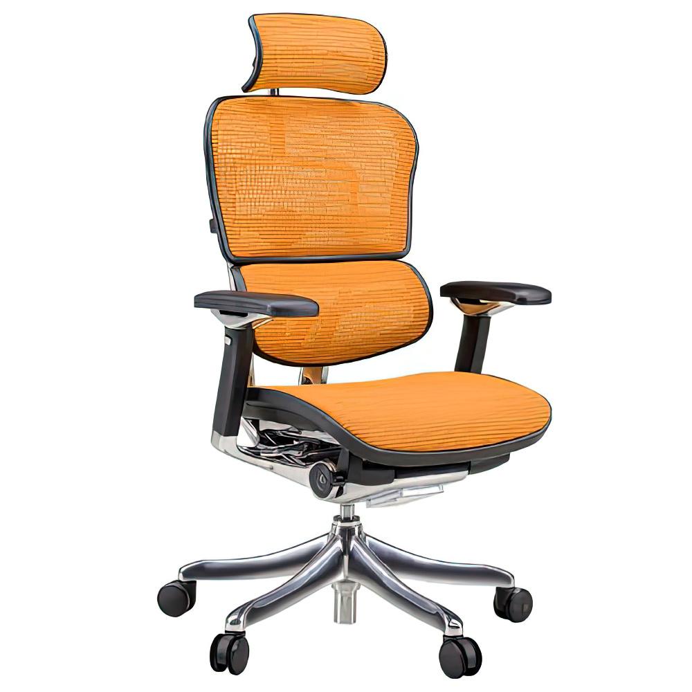 エルゴヒューマン プロ ハイタイプ W665×D665×H1110-1250mm エルゴノミクスチェア ファブリック:オレンジ オフィス家具