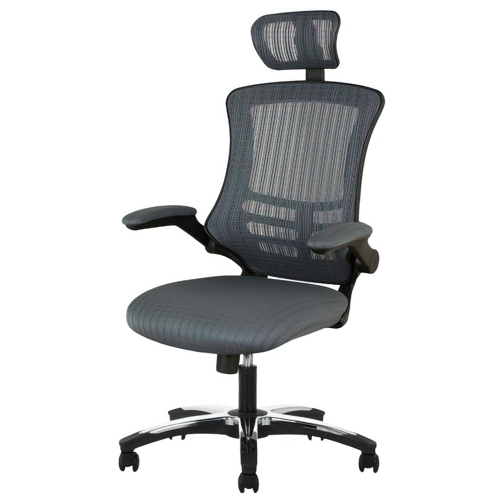 マスターチェア W660×D740-1160×H1200-1280mm グレー マネージメントチェア ヘッドレスト付きメッシュチェア オフィス家具