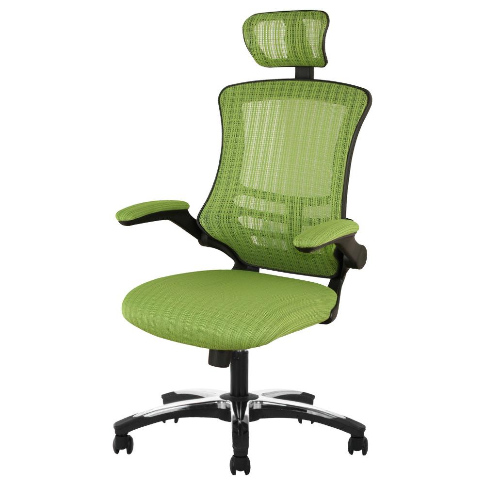 マスターチェア W660×D740-1160×H1200-1280mm グリーン マネージメントチェア ヘッドレスト付きメッシュチェア オフィス家具