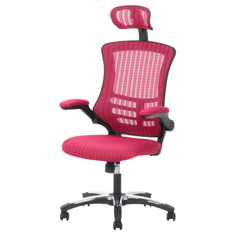 マスターチェア W660×D740-1160×H1200-1280mm レッド マネージメントチェア ヘッドレスト付きメッシュチェア オフィス家具