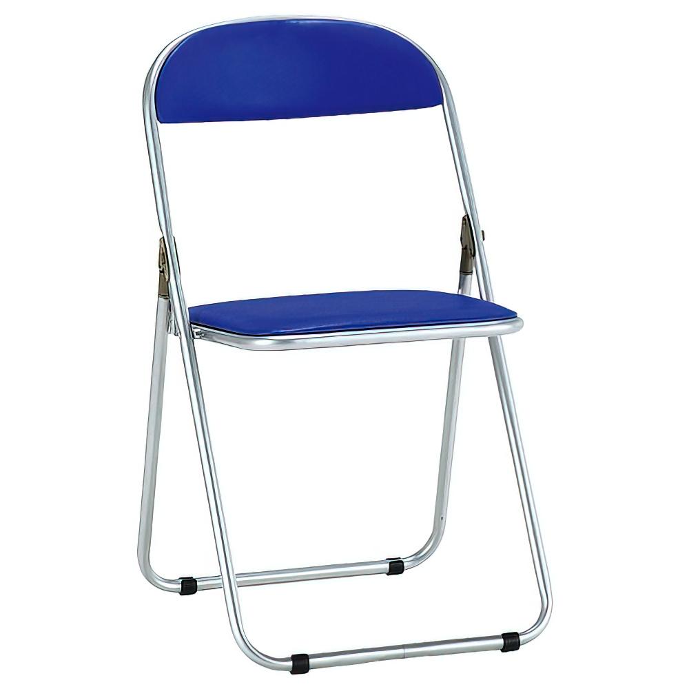 折りたたみ椅子 W425×D469×H741mm ミーティングチェア パイプ椅子 ブルー 会議椅子 会議チェア オフィス家具