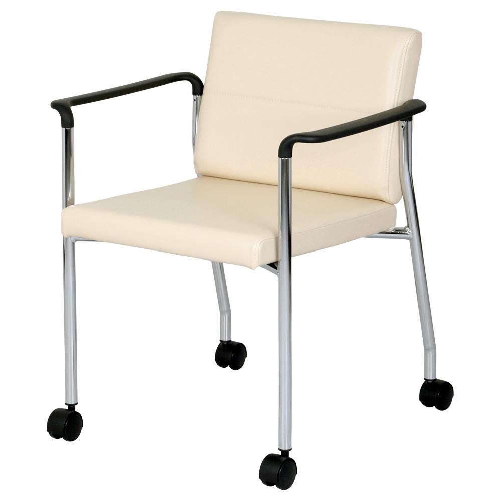 キャスター脚レザーチェア W570×D580×H715mm 2脚セット グループチェア  会議チェア ミーティングチェア アイボリー 会議椅子 オフィスチェア オフィス家具