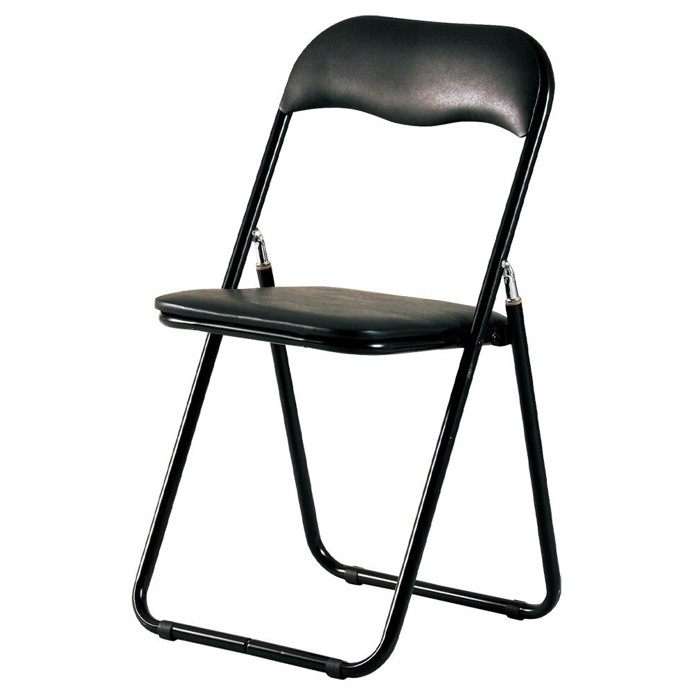 折りたたみ椅子PFC W440 D465 H815 4脚セット ブラック チェア ミーティングチェア 折畳イス オフィス家具 オフィスチェア フレーム シリンダー スチール ビニー