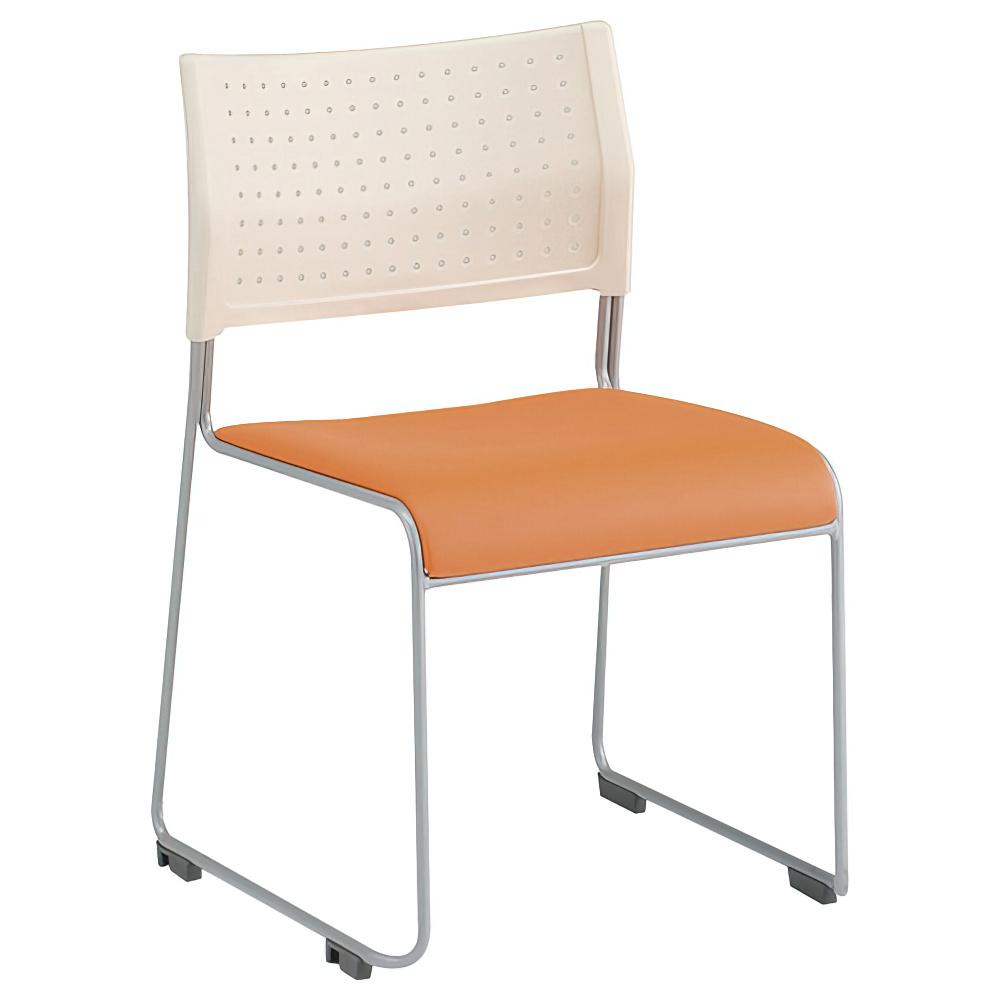 パスチェ W490×D525×H750mm スタッキングチェア 会議椅子 ホワイト×オレンジ スタックチェア 会議チェア ミーティングチェア オフィス家具