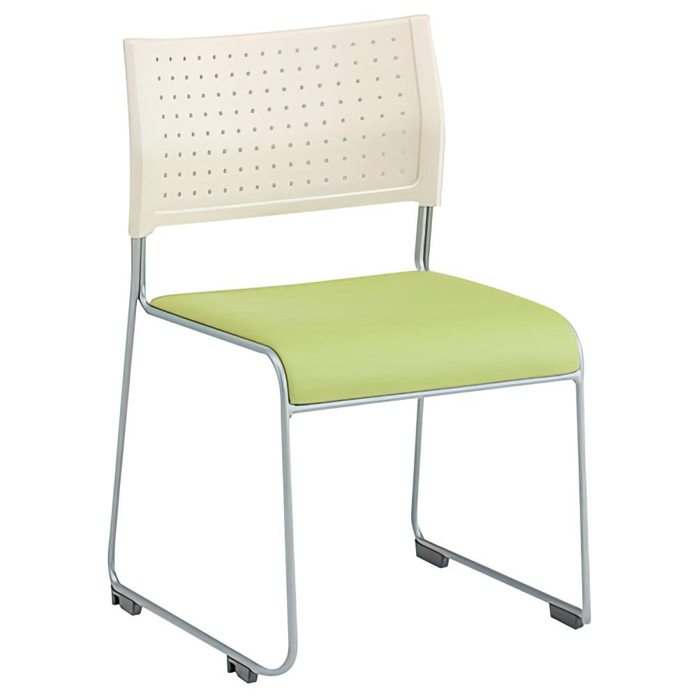 パスチェ W490×D525×H750mm スタッキングチェア 会議椅子 ホワイト×グリーン スタックチェア 会議チェア ミーティングチェア オフィス家具
