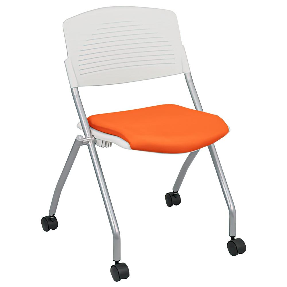 プロチームTW W540×D535×H783mm スタッキングチェア 会議椅子 ホワイト×オレンジ スタックチェア 会議チェア ミーティングチェア オフィス家具