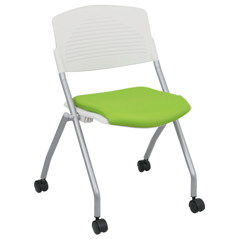 プロチームTW W540×D535×H783mm スタッキングチェア 会議椅子 ホワイト×イエローグリーン スタックチェア 会議チェア ミーティングチェア オフィス家具