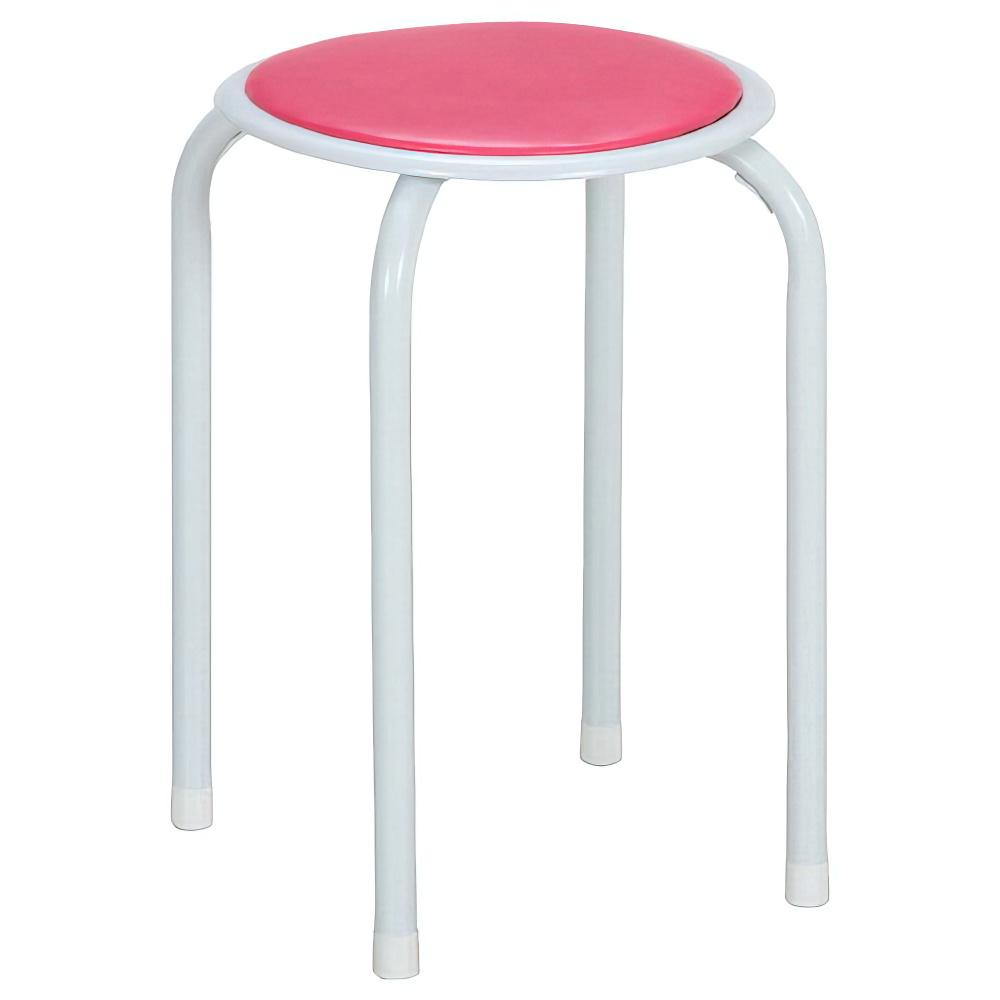 パイプ丸イス 12脚セット W270×D270×H450mm ピンク ミーティングチェア パイプ椅子 丸椅子 ラウンドスツール オフィス家具