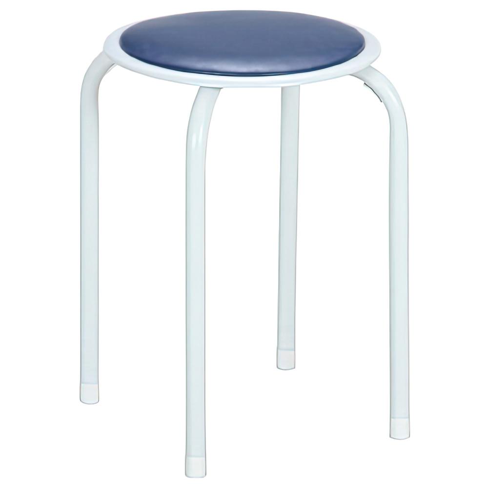 パイプ丸イス 12脚セット W270×D270×H450mm ブルー ミーティングチェア パイプ椅子 丸椅子 ラウンドスツール オフィス家具