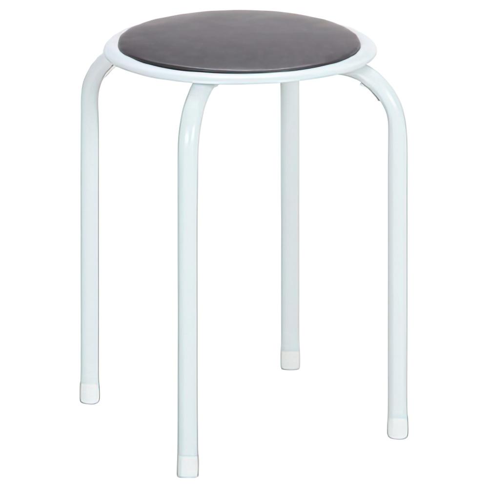 パイプ丸イス 12脚セット W270×D270×H450mm ブラウン ミーティングチェア パイプ椅子 丸椅子 ラウンドスツール オフィス家具