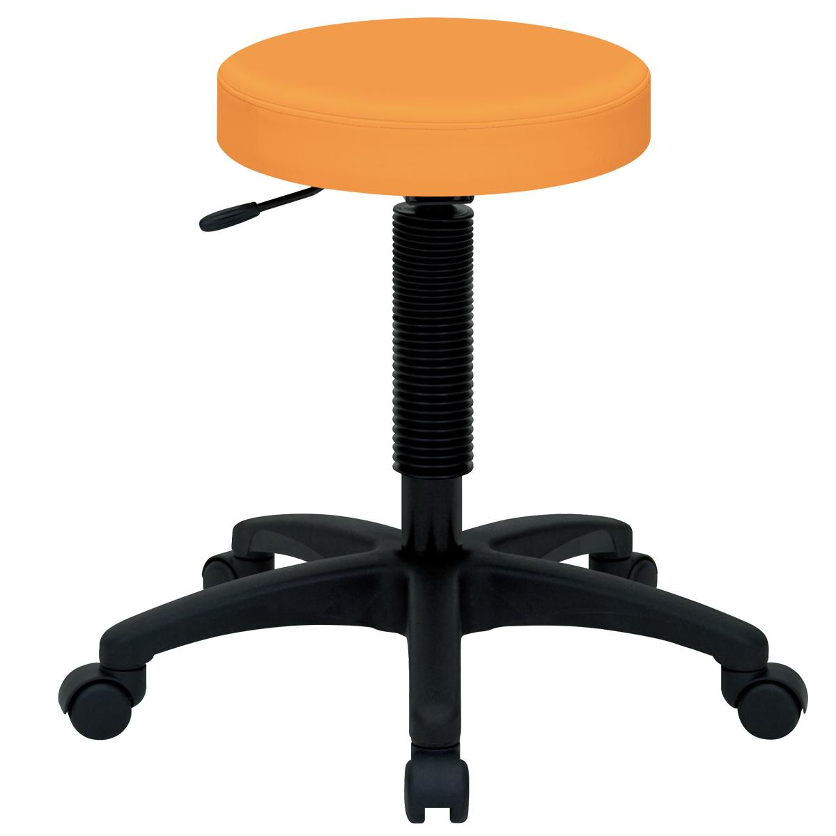 ホスピタルチェア ハイタイプ W530 D550 H440-570 オレンジ チェア ミーティングチェア スツール 椅子 ラウンジチェア キャスター オフィス メーカー アルコール
