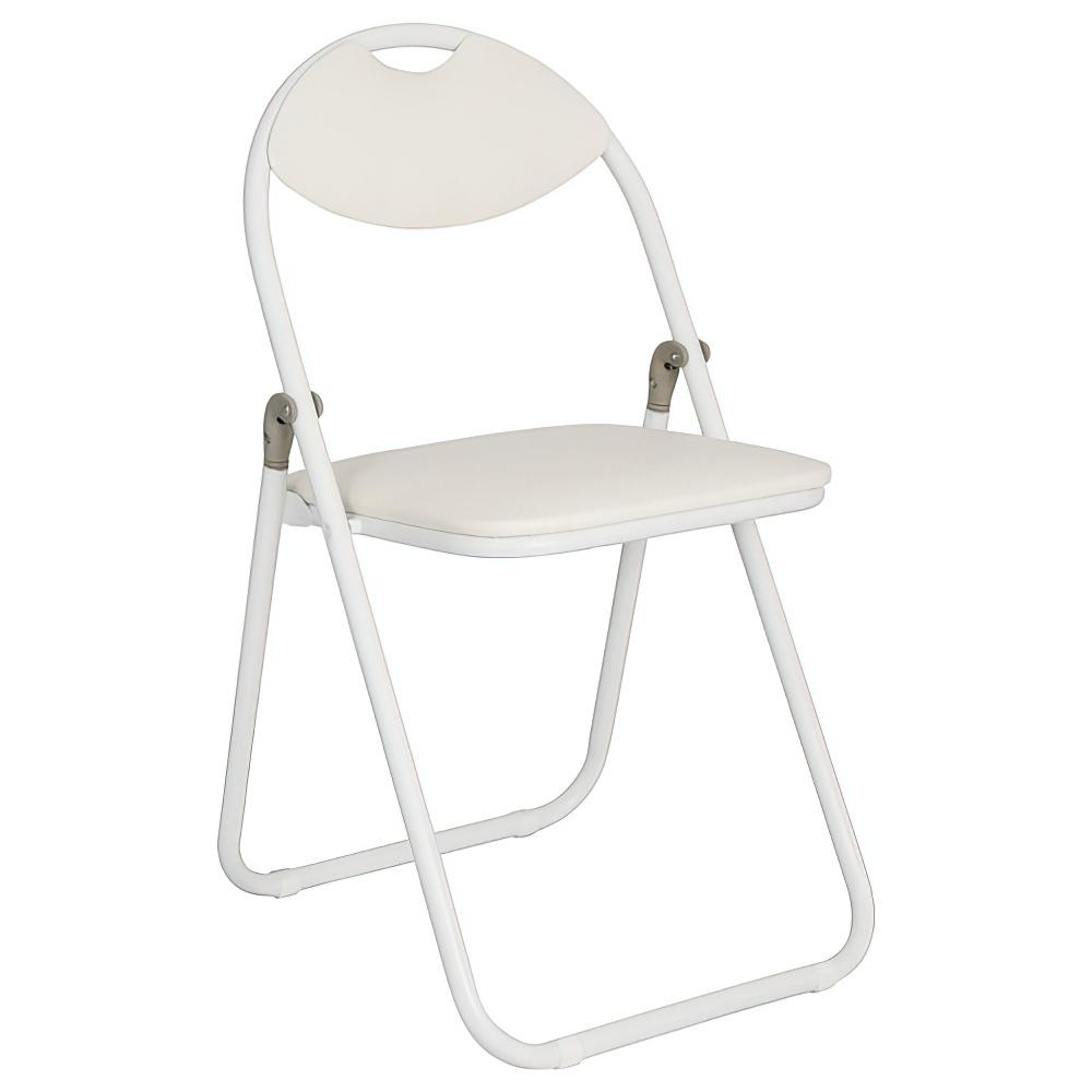 折りたたみ椅子 ホワイトフレーム W430×D475×H795mm ホワイト ミーティングチェア パイプ椅子 会議椅子 会議チェア オフィス家具