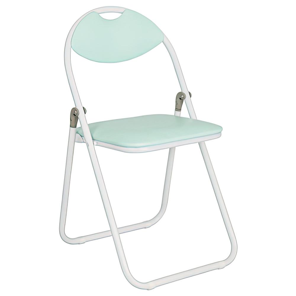 折りたたみ椅子 ホワイトフレーム W430×D475×H795mm アクアマリン ミーティングチェア パイプ椅子 会議椅子 会議チェア オフィス家具
