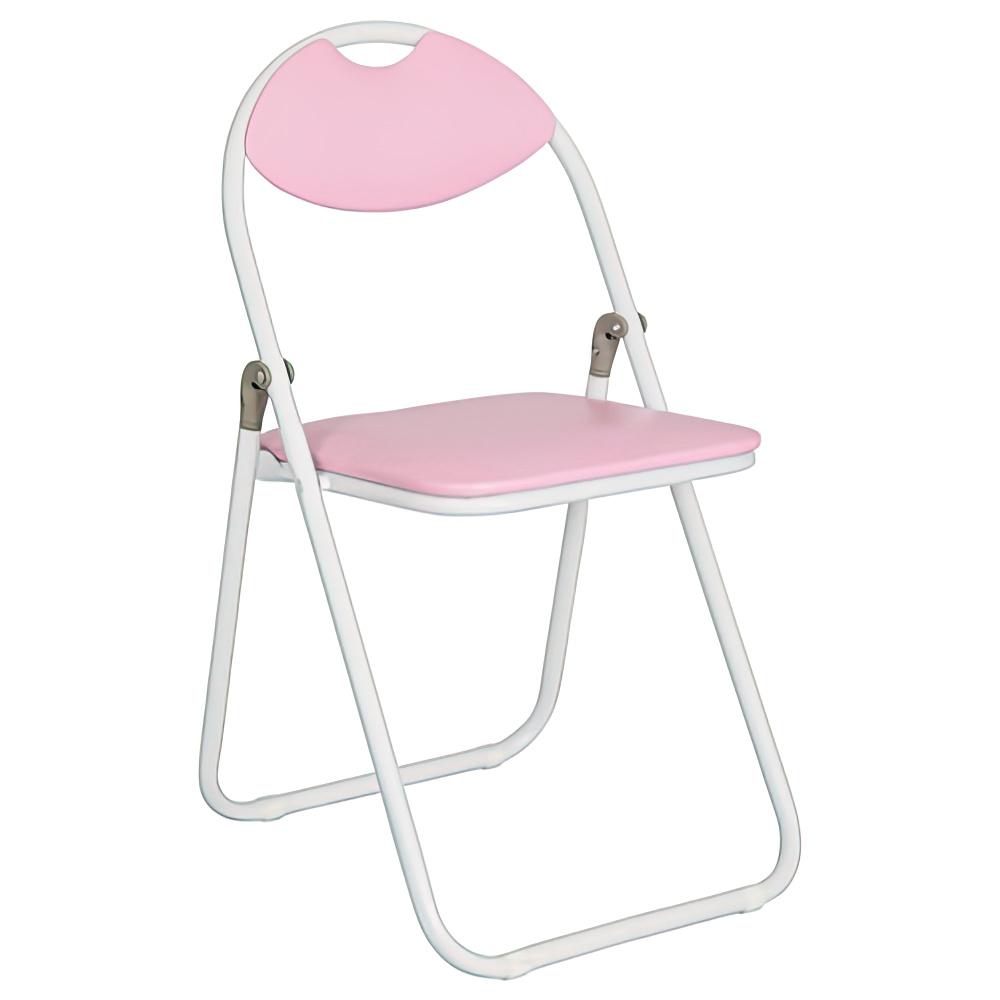 折りたたみ椅子 ホワイトフレーム W430×D475×H795mm ピンク ミーティングチェア パイプ椅子 会議椅子 会議チェア オフィス家具
