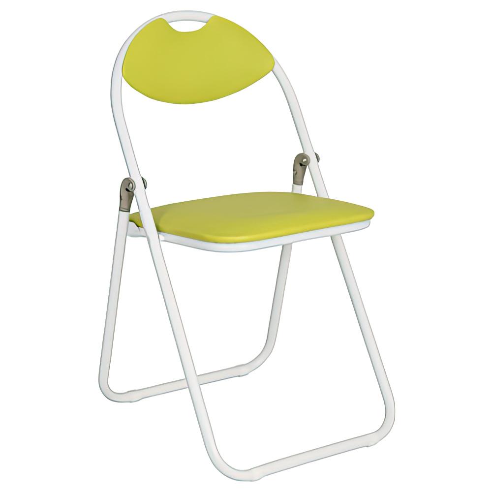 折りたたみ椅子 ホワイトフレーム W430×D475×H795mm イエローグリーン ミーティングチェア パイプ椅子 会議椅子 会議チェア オフィス家具
