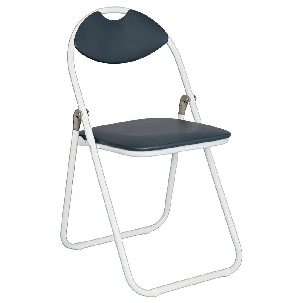 折りたたみ椅子 ホワイトフレーム W430×D475×H795mm ネイビー ミーティングチェア パイプ椅子 会議椅子 会議チェア オフィス家具