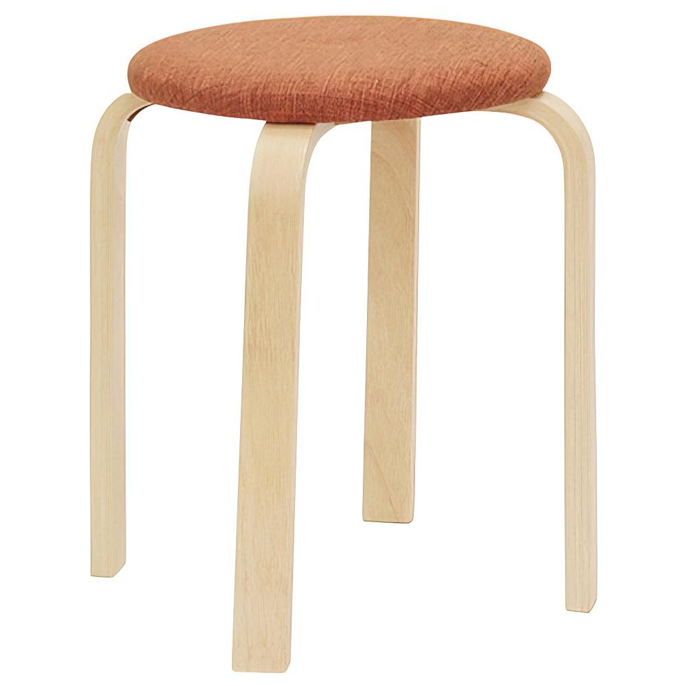 パセリ ファブリックスツール W400×D400×H440mm 5脚セット 丸椅子 オレンジ ラウンドスツール オフィス家具