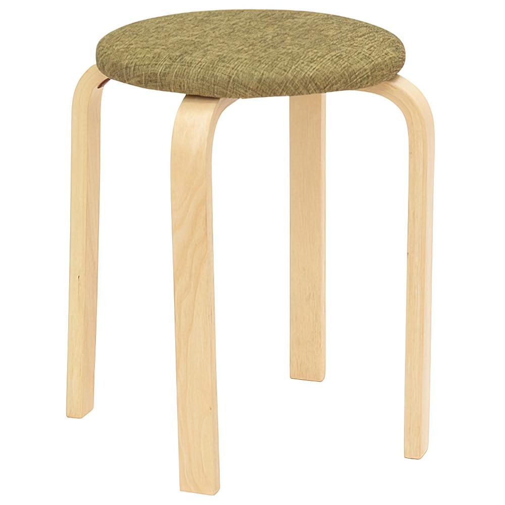 パセリ ファブリックスツール W400×D400×H440mm 5脚セット 丸椅子 グリーン ラウンドスツール オフィス家具