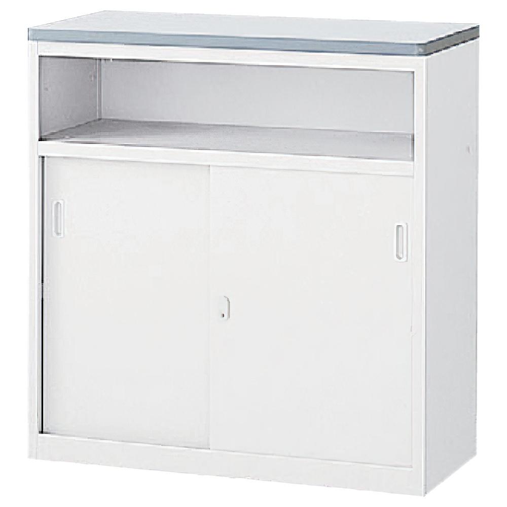 収納U型NKハイカウンター W900×D454×H950mm ホワイト エントランスカウンター 受付カウンター オフィスカウンター オフィス家具