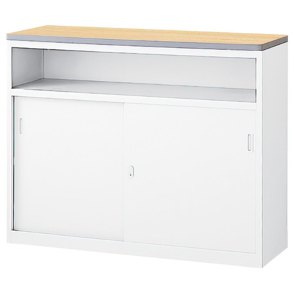 収納U型ホワイトハイカウンター W1200×D454×H950mm エントランスカウンター 受付カウンター オフィスカウンター オフィス家具