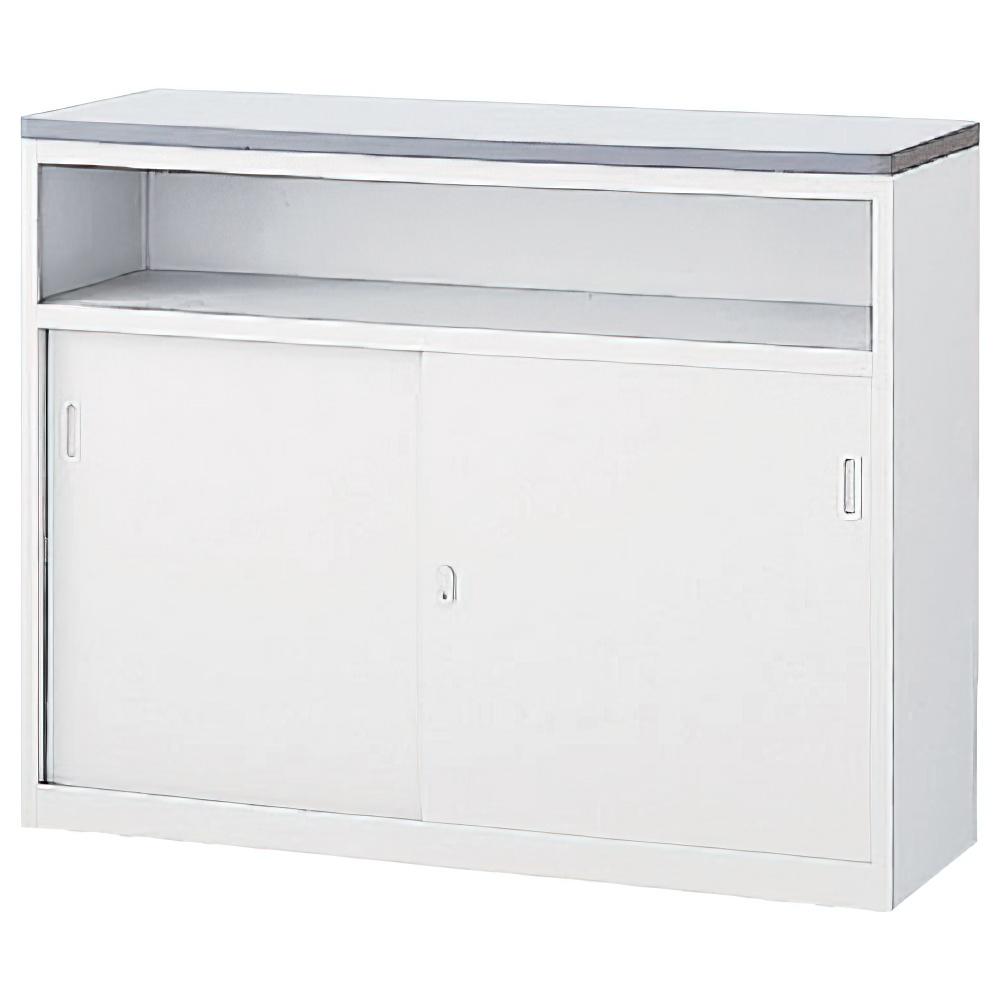 収納U型NKハイカウンター W1200×D454×H950mm ホワイト エントランスカウンター 受付カウンター オフィスカウンター オフィス家具