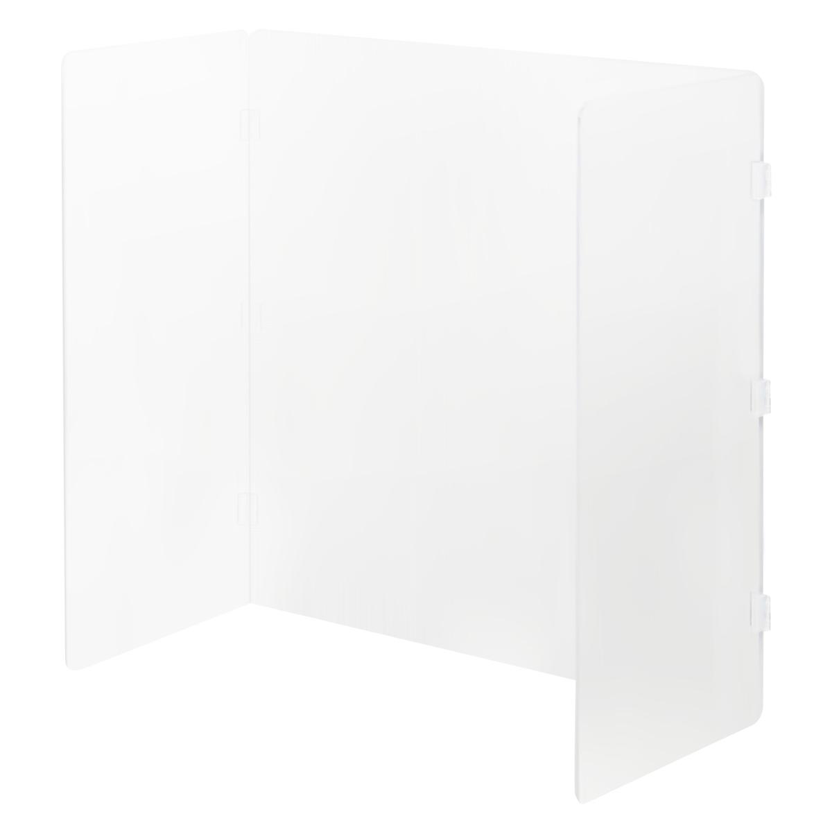 オフィス用折畳型アクリルデスクトップパネル W600 D300 H600  透明・半透明