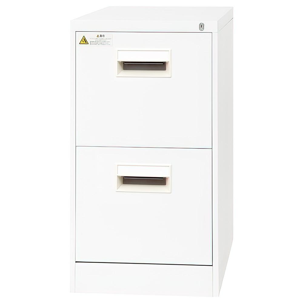 2段サイドファイリングキャビネット W387×D620×H700mm A4書類整理庫 ファイルキャビネット オールロック機構 オフィス家具