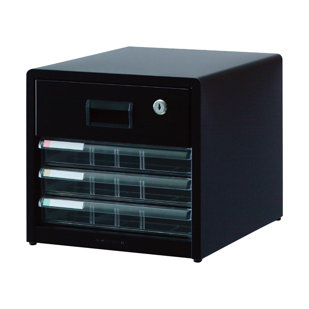 A4レターケース 浅3段 鍵付1段 W277 D336 H263 ブラック 収納家具 書類整理庫 レターケース オフィスワゴン 多目的ワゴン オフィス ファイル セキュリティ デー