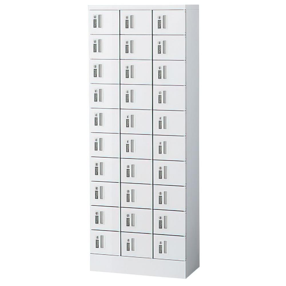 オフィス用小物入れロッカー 3列10段30人用 内筒交換錠 W600 D300 H1600 ホワイト 収納家具 ロッカー 内筒交換錠