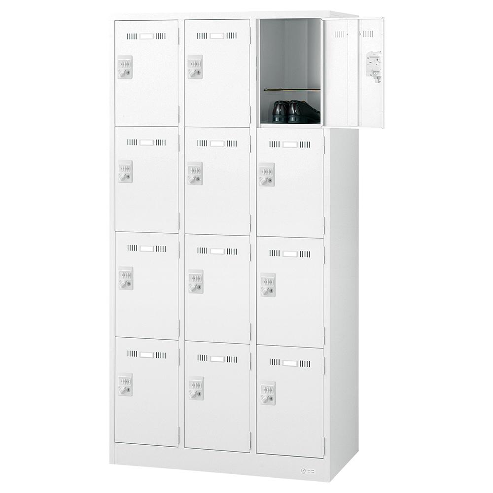 オフィス用ダイヤルキー式 12人用スチールロッカー W900 D515 H1790  ホワイト