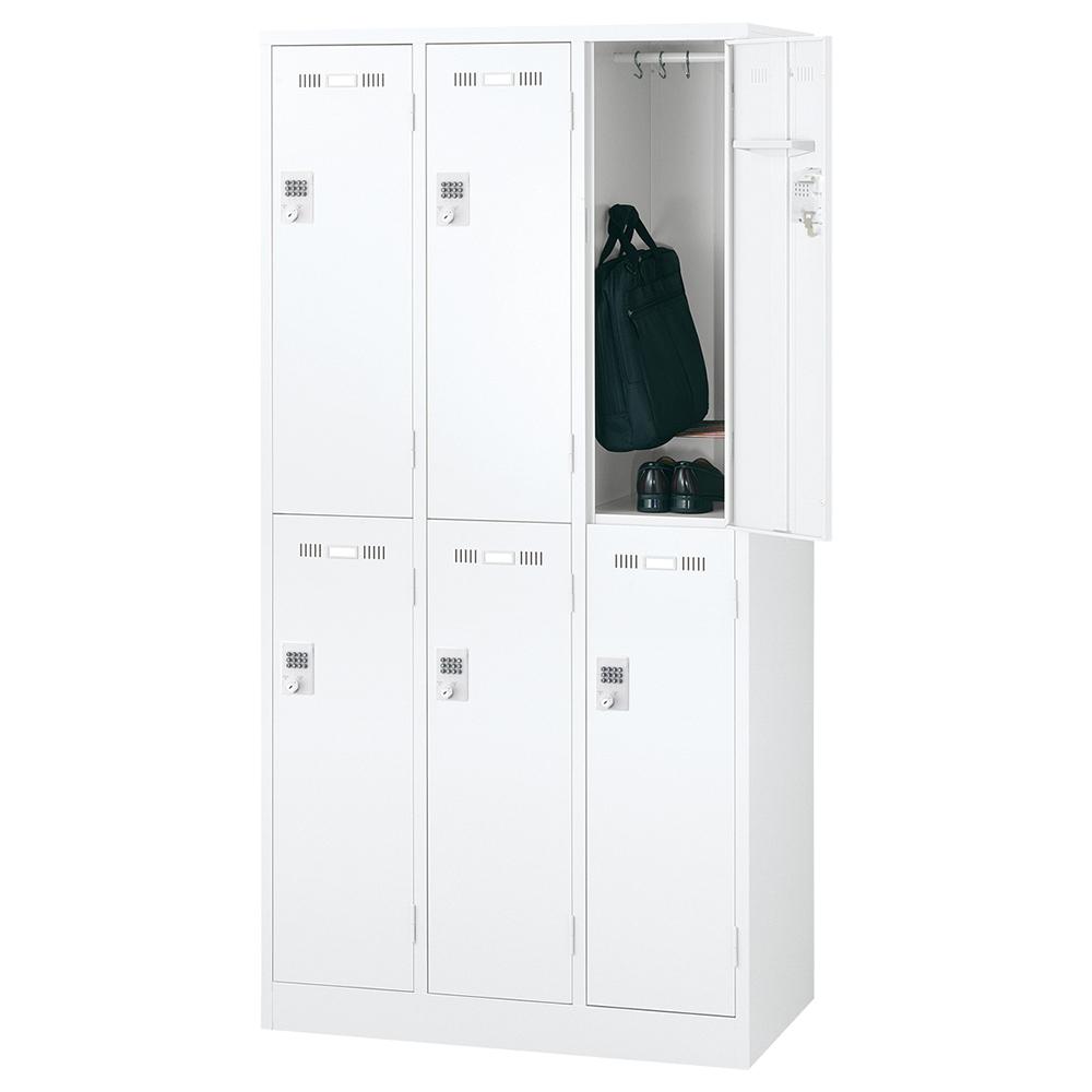 オフィス用ボタンキー式 6人用スチールロッカー W900 D515 H1790  ホワイト