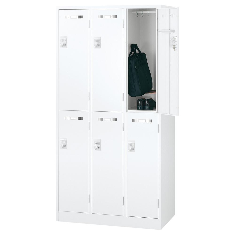 オフィス用ダイヤルキー式 6人用スチールロッカー W900 D515 H1790  ホワイト