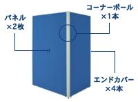2枚L字連結パネル(PN0712:ローパーテーション)