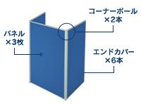 3枚コの字型連結パネル(PN0618:ローパーテーション)