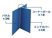 3枚T字連結パネル(PN0712:ローパーテーション)