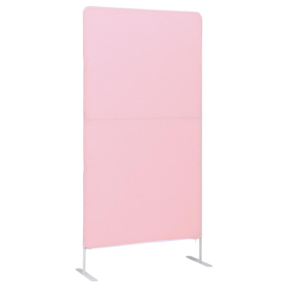簡易スクリーンパーテーション W800×D340×H1600mm ピンク クロススクリーン 衝立 パネル オフィス家具