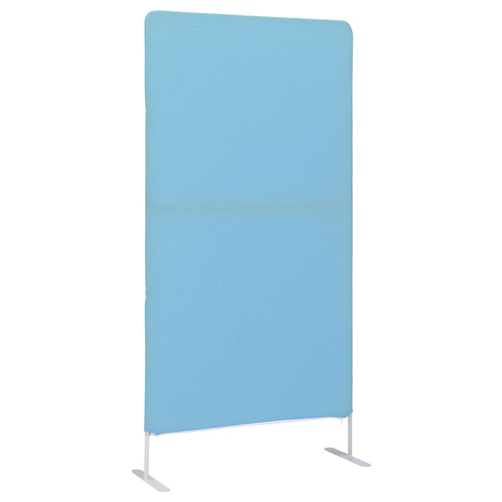 簡易スクリーンパーテーション W800×D340×H1600mm ブルー クロススクリーン 衝立 パネル オフィス家具
