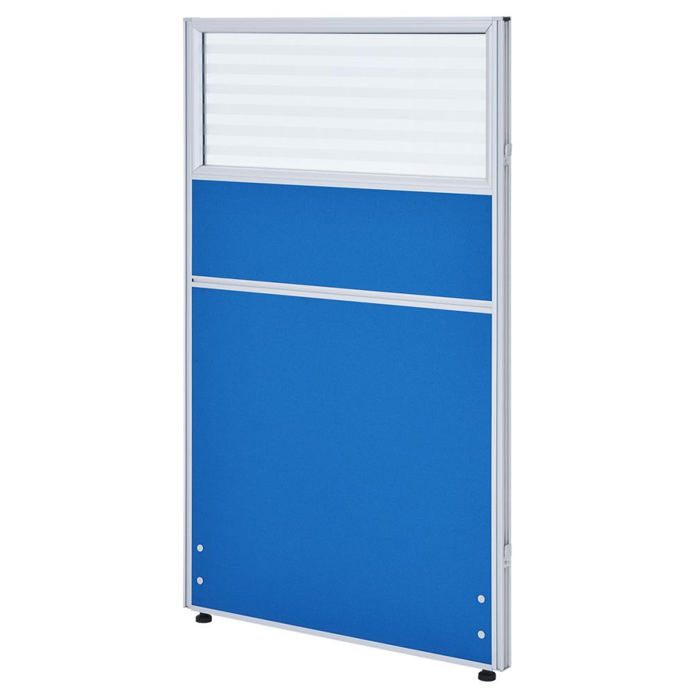 ガラス型システムパーテーション H1200×W700mm パーティション 間仕切り ブルー パーテーション ガラス有り オフィス家具