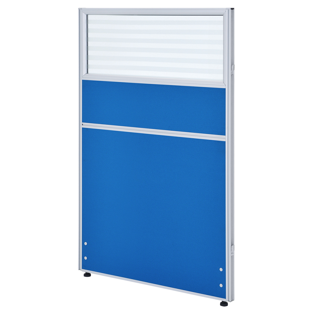 ガラス型システムパーテーション H1200×W800mm パーティション 間仕切り ブルー パーテーション ガラス有り オフィス家具