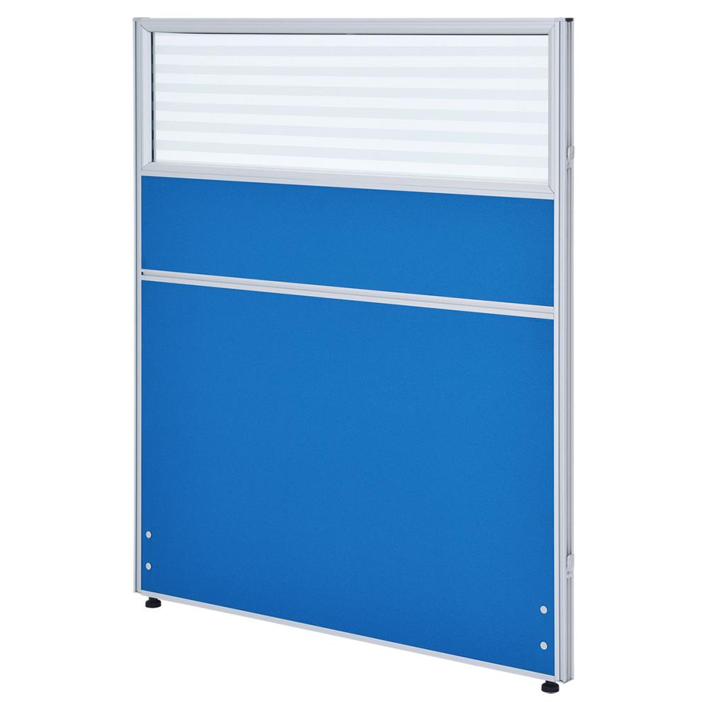 ガラス型システムパーテーション H1200×W1000mm パーティション 間仕切り ブルー パーテーション ガラス有り オフィス家具