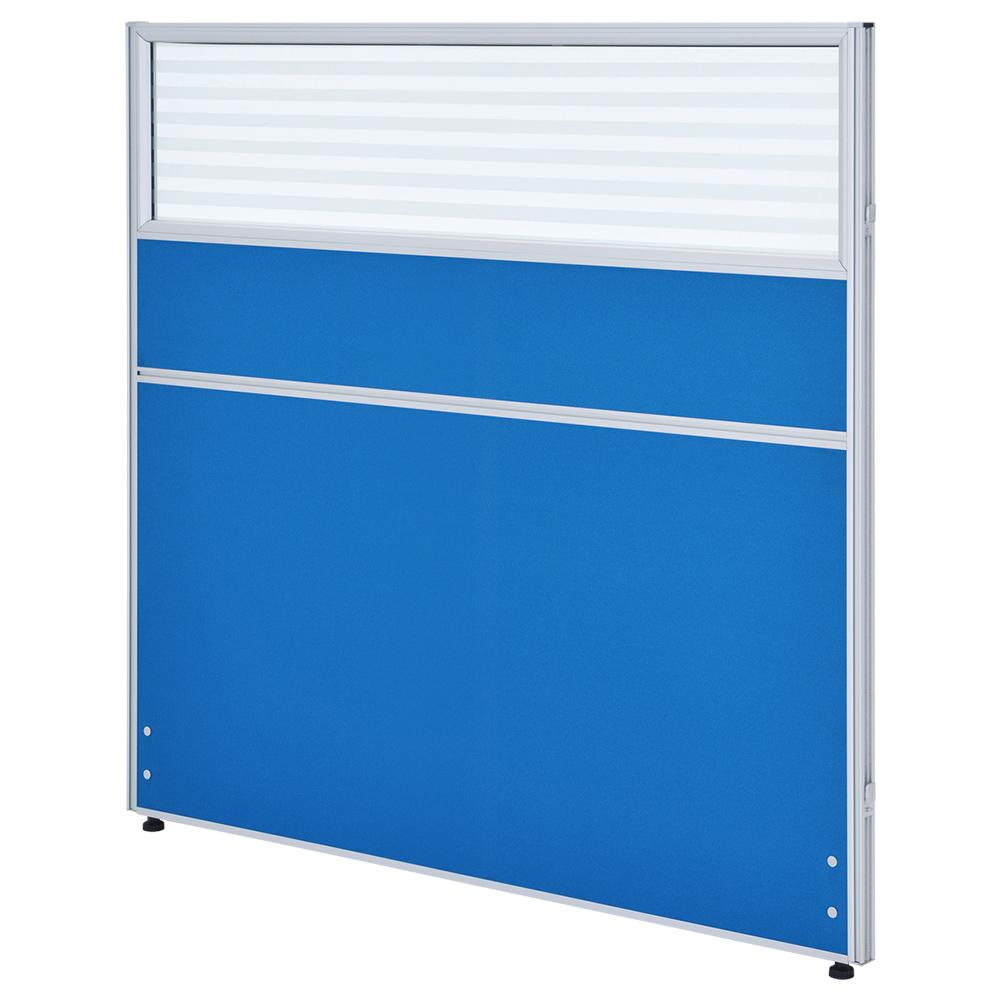 ガラス型システムパーテーション H1200×W1200mm パーティション 間仕切り ブルー パーテーション ガラス有り オフィス家具