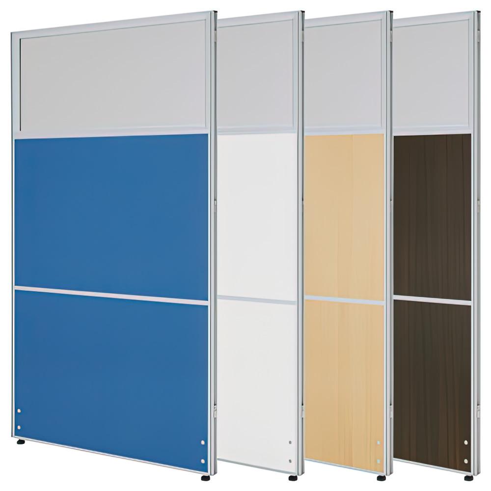 三段割アクリル曇りパーテーション H1600×W900mm チーク パーティション 間仕切り 事務所 メラニンパネル オフィス家具