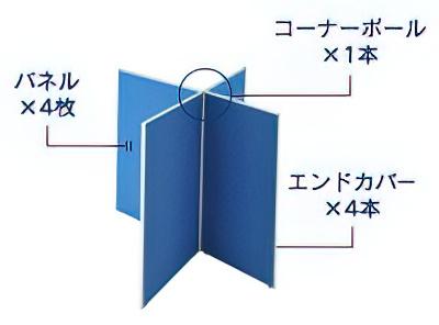 4枚十字連結パネル(PPM0916:メラミン上部半透明ローパーテーション)