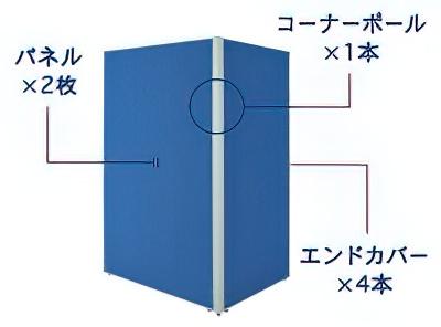 2枚L字連結パネル(PPN0918:クロス上部半透明ローパーテーション)