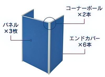 3枚コの字型連結パネル(PP0916:半透明ローパーテーション)