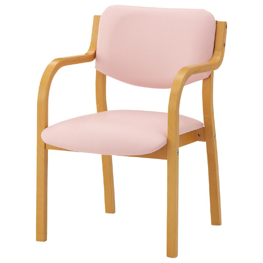 IRIS リーズチェア W520×D567×H767mm ピンク 介護チェア 福祉用椅子 介護椅子 ダイニングチェア オフィス家具