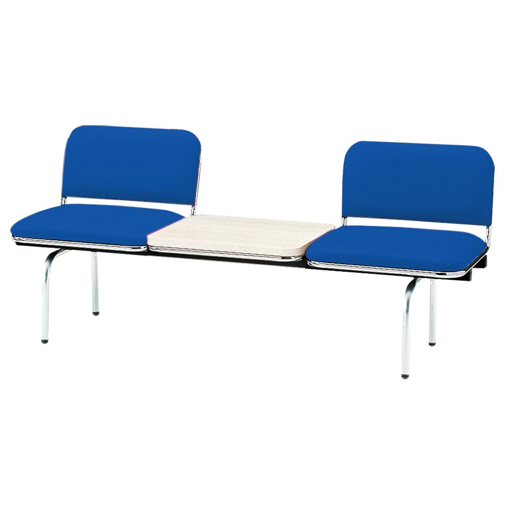 2人掛けロビーラウンジチェア テーブル付き W1510 D500 H410 ブルー 受付 ロビー ロビーチェア ベンチ チェア ベンチ スツール ダイニングベンチ クリニック オ